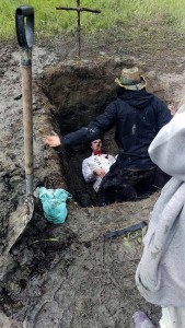 Myself and Herman (Karl) in our home-made dug grave
