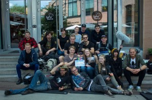Some of the cast and crew on the final day of shooting